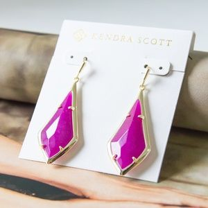 Kendra Scott Olivia Gold Drop Earrings Pink Agate